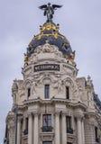 Metropolis Building in Madrid. So called Metropolis Building seen from Cybele Square in Madrid, capital city of Spain stock image