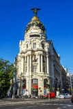 Metropolis building, Madrid. Central position by night in madrid city, Spain Royalty Free Stock Images