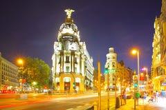 Metropolis building in Madrid at night Royalty Free Stock Photo