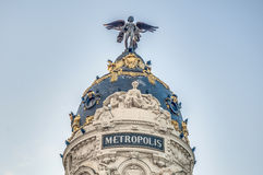 Metropolis building at Madrid, Spain Stock Images