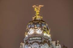 Metropolis building at Madrid, Spain. Metropolis building facade located at Madrid, Spain Royalty Free Stock Photo