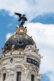 Metropolis Building in Madrid. Madrid, Spain - June 2, 2018: Low angle view of Metropolis Building against blue sky royalty free stock image