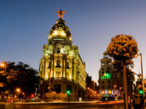 Metropolis building in Madrid at sunset Stock Photos
