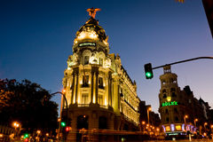 Metropolis building in Madrid at sunset Stock Photo