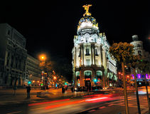 Metropolis Building by Night, Madrid stock photos