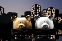 Metropolis City gay piggy bank civil union Royalty Free Stock Photos