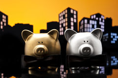 Metropolis City gay piggy bank civil union Royalty Free Stock Image