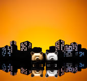 Metropolis City gay piggy bank civil union Royalty Free Stock Image