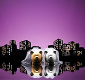 Metropolis City lesbian piggy bank civil union Royalty Free Stock Images