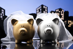 Metropolis City lesbian piggy bank civil union Stock Photography