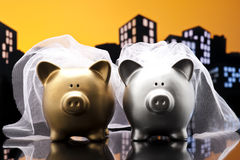 Metropolis City lesbian piggy bank civil union Royalty Free Stock Image
