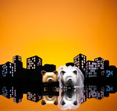 Metropolis City pig wedding Stock Image