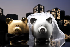 Metropolis City pig wedding the piggy bank Royalty Free Stock Photos