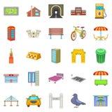 Metropolis icons set, cartoon style. Metropolis icons set. Cartoon set of 25 metropolis vector icons for web isolated on white background Royalty Free Stock Image