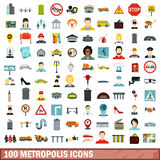 100 metropolis icons set, flat style. 100 metropolis icons set in flat style for any design vector illustration Royalty Free Stock Image