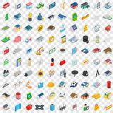 100 metropolis icons set, isometric 3d style Royalty Free Stock Image