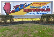 Billboard Welcome to Metropolis with Superman flying. METROPOLIS, IL, USA - NOVEMBER 20, 2017: Billboard Welcome to Metropolis with Superman flying in Metropolis Royalty Free Stock Images