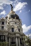 Metropolis, Image of the city of Madrid, its characteristic arch Stock Photography