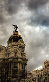Metropolis in Madrid. Storm clouds around the metropolis in Madrid spain Stock Photos