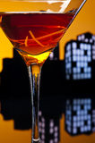 Metropolis Manhattan cocktail in city skyline setting Stock Images