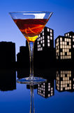 Metropolis Manhattan cocktail in city skyline setting Stock Photography