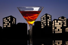 Metropolis Manhattan Cocktail In City Skyline Setting Royalty Free Stock Photos