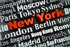 Metropolis New York. Typographical demonstration of big cities - new york  3d Stock Photo