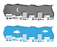 Metropolis night and day. Silhouette on torn paper Royalty Free Stock Photo