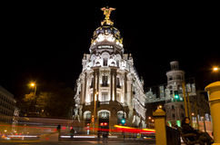 Metropolis at night in Madrid - Spain. Metropolis building at night in Madrid (Spain Stock Photography
