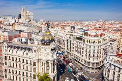 The Metropolis Office Building in Madrid, Spain. Metropolis Building or Edificio Metropolis is an office building at the corner of the Calle de Alcala and Gran royalty free stock photo