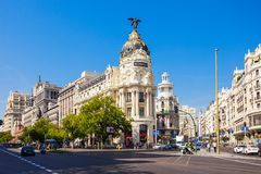 The Metropolis Office Building in Madrid, Spain. MADRID, SPAIN - SEPTEMBER 21, 2017: Metropolis Building or Edificio Metropolis is an office building at the Royalty Free Stock Images