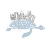Metropolis on shell water turtles. City skyscrapers and office b. Uildings on reptiles. Logo of  new modern district Stock Image