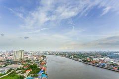 Metropolis sky and river in Bangkok Royalty Free Stock Photography