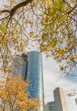 Metropolis skyline from city park in autumn Royalty Free Stock Images