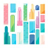 Metropolis: skyscrapers collection isolated over white background. Metropolis design set: many colorful skyscraper isolated on white background, Empire State Royalty Free Stock Photography