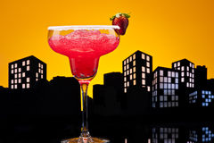 Metropolis strawberry Margarita cocktail Royalty Free Stock Photos