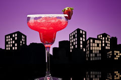 Metropolis strawberry Margarita cocktail Royalty Free Stock Images