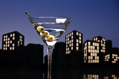 Metropolis Vodka Martini. A vodka martini, also known as a vodkatini or kangaroo cocktail, is a cocktail made with vodka and vermouth, a variation of a martini Royalty Free Stock Photo