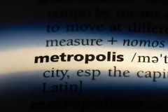 Metropolis. Word in a dictionary.  concept royalty free stock photos