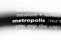 Metropolis. Word in a dictionary.  concept stock photo
