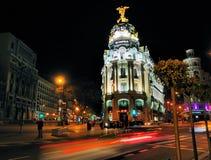 Metropolisbyggnad av Natt, Madrid Arkivfoton