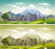Metropolisen på bakgrunden av berg och vulkan Arkivfoton