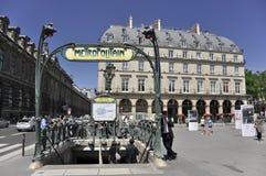 Metropolitaans metro einde in Parijs, Frankrijk Stock Foto