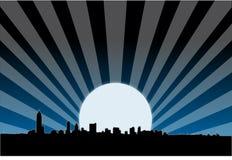 Metropolitaanse stads 's nachts horizon royalty-vrije illustratie