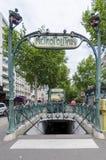 Metropolitain ingång, Paris Arkivbilder
