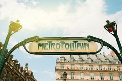 Metropolitain inscription above the entrance to the PAris metro Royalty Free Stock Photography