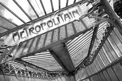 Metropolitain notice board in black and white Royalty Free Stock Photos