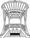 Metropolitain. Old black and white outlined subway station. Essential style Stock Photos