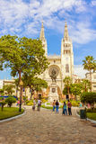 Metropolitan cathedral church and Simon Bolivar statue in Guayaq Royalty Free Stock Photography