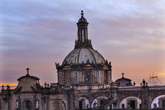 Metropolitan Cathedral Dome Zocalo Mexico City Sunrise Stock Photo